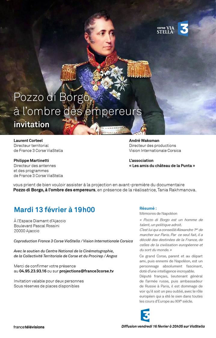 """Projection à Ajaccio du film """" POZZO DI BORGO - A L'OMBRE DES EMPEREURS """""""