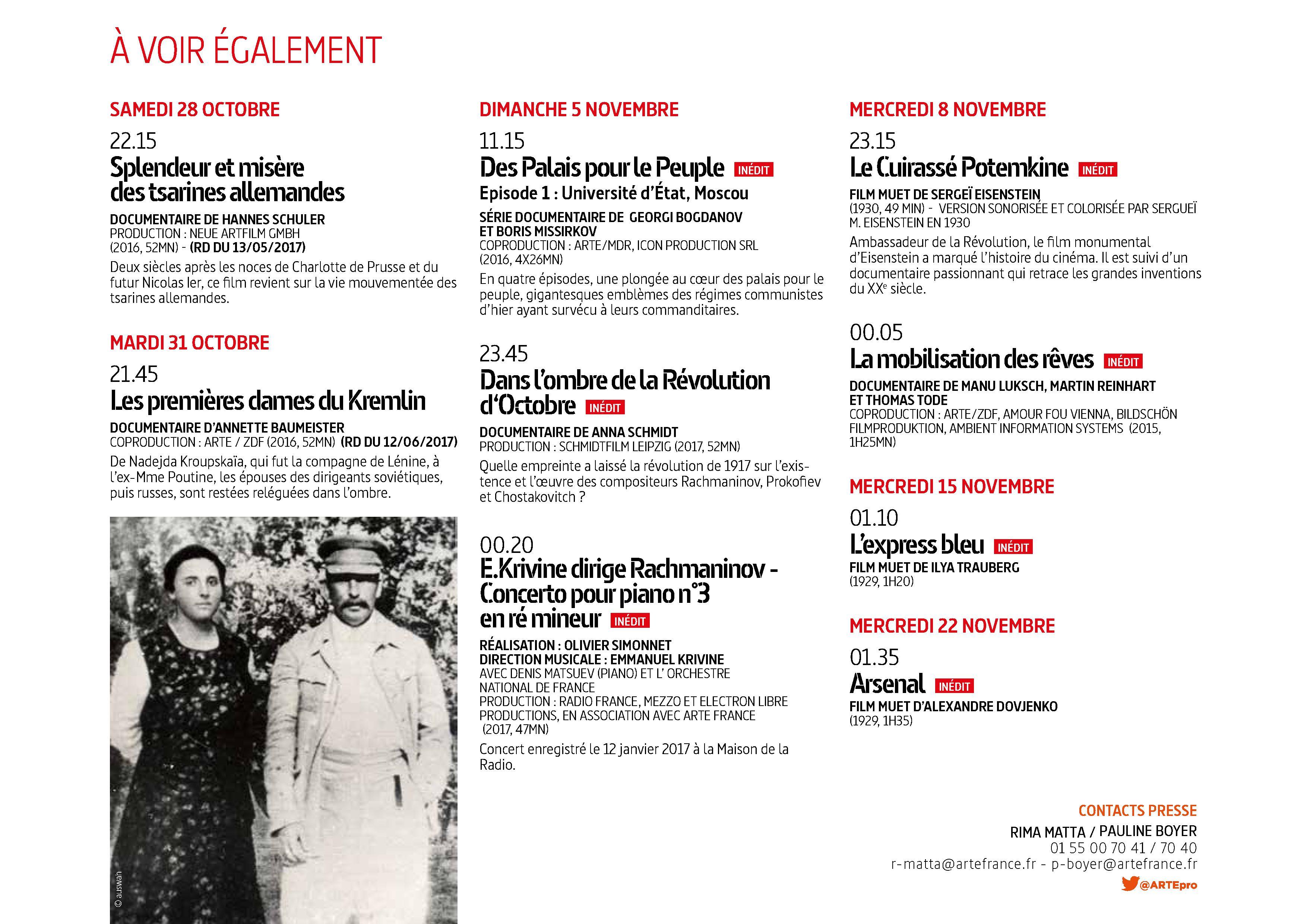 Du 25 octobre au 22 novembre sur ARTE+7 : RUSSIE. Révolutions et révoltes..