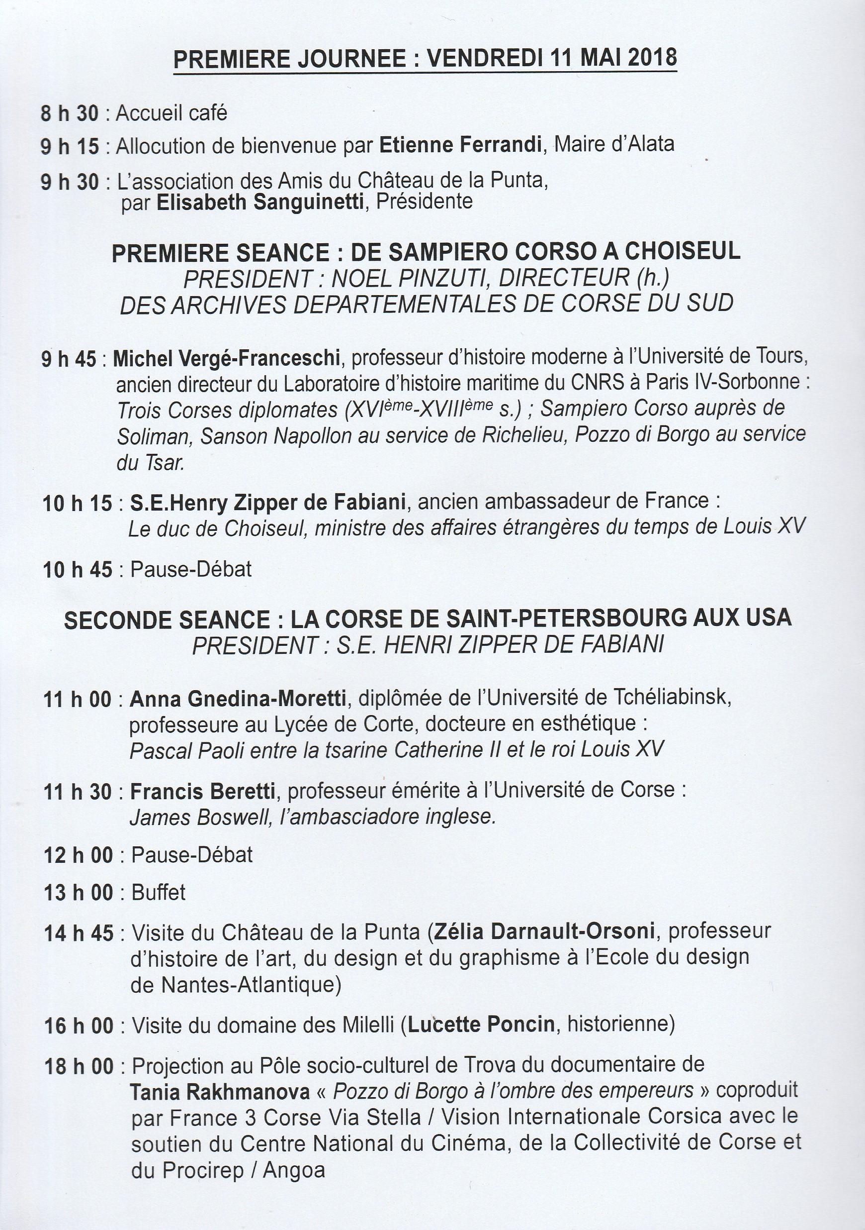 DEUXIEME COLLOQUE HISTORIQUE D'ALATA - La Corse et les Corses dans la diplomatie.